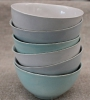 stack of noodle bowls in white, periwinkle & aqua glazes 13cm diameter  available in white, aqua & periwinkle glazes