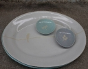 White stoneware clay range oval platter with motif glazed in white 39 x 30 cm  available in white, aqua & periwinkle glazes